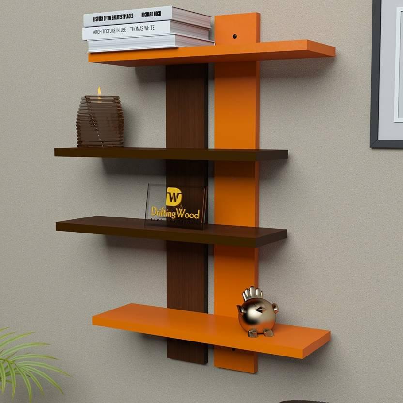 DriftingWood Ladder Shape Mounted Rack Shelves Shelf High Quality Wooden Home Decor Wall Number Of