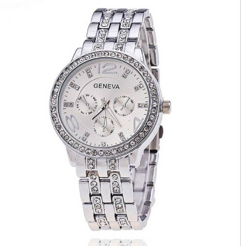 Geneva Aeds0243 Silver Diamond Rhinestone Studded Big Size Dial 32 Mm Diameter Valentine S Gift Collection Party Wear Ladies Girls Watch For
