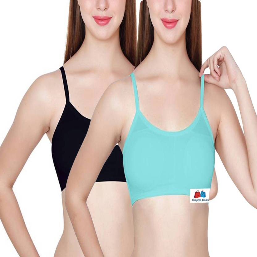 0cc3850a7b6 GRAPPLE DEALS by Combo of 2 Women's Sexy Strap Vest Unique Design Back Crop  Tank Top Summer Beach Tight Padded Bra Women's, Girl's Full Coverage ...