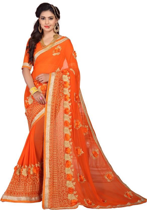 9e1c11b467a19 Buy Pratham Blue Embroidered Fashion Chiffon Orange Sarees Online ...