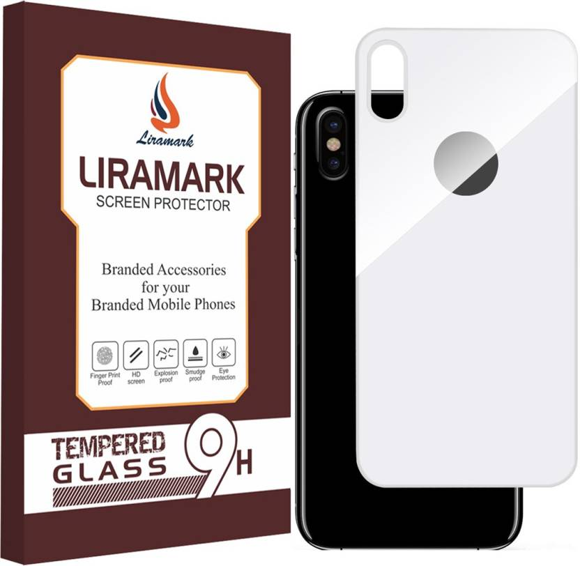 best website 2f491 87e1b LIRAMARK Back Screen Guard for Apple iPhone X ( Back Tempered Glass ) (  White Color )