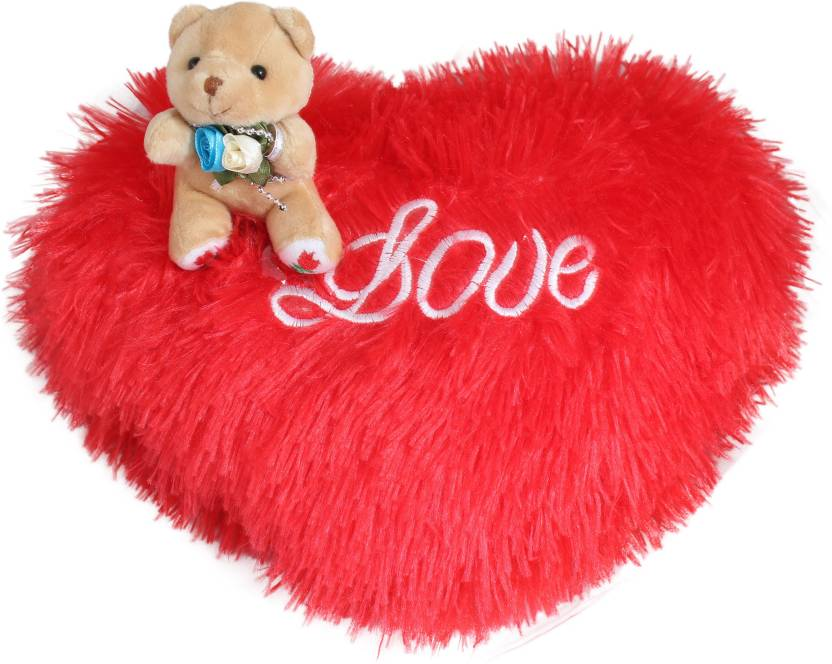 d1a82184e Tickles Romantic Teddy sitting on Love heart Special Valentine Day gift -  30 cm (Red)