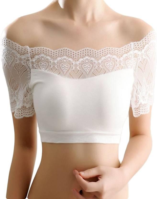 1ba79b2b092 GRAPPLE DEALS by Elegant Lace Blouse Bralette Bra Floral Lace Bustier Crop  Top Cami Padded Vest Women s Bralette Lightly Padded Bra (White)