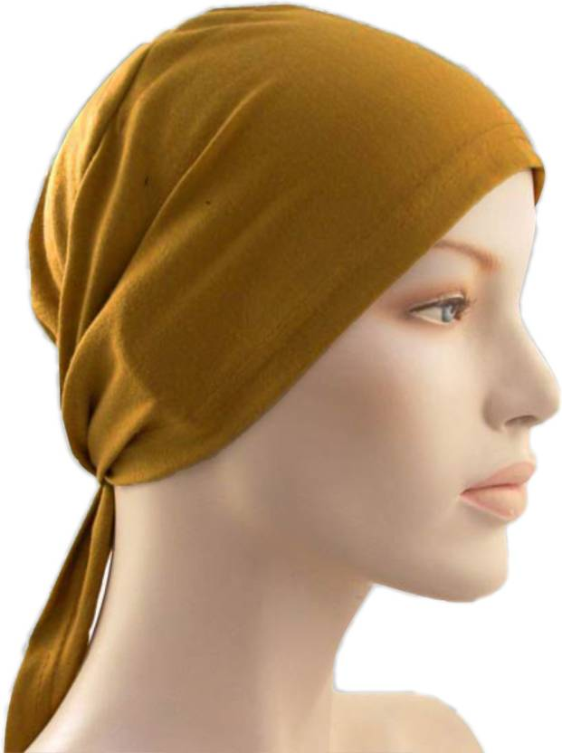 Cwen Collection Solid Hijab Tie Back Bonnet Golden Brown Women Abaya Under Scraf Stole Men Helmet Bandanna Hair Cover Chemo Cap Kitchen Cap