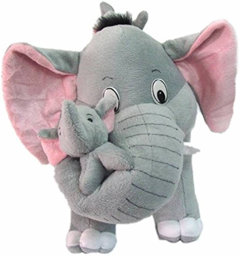 TOYS LOVER Stuffed Spongy Hugable Cute Elephant With Baby Cuddles Soft Toy For Kids Birthday Return Gifts Girls Lovable Special Gift High Quality 26 CM