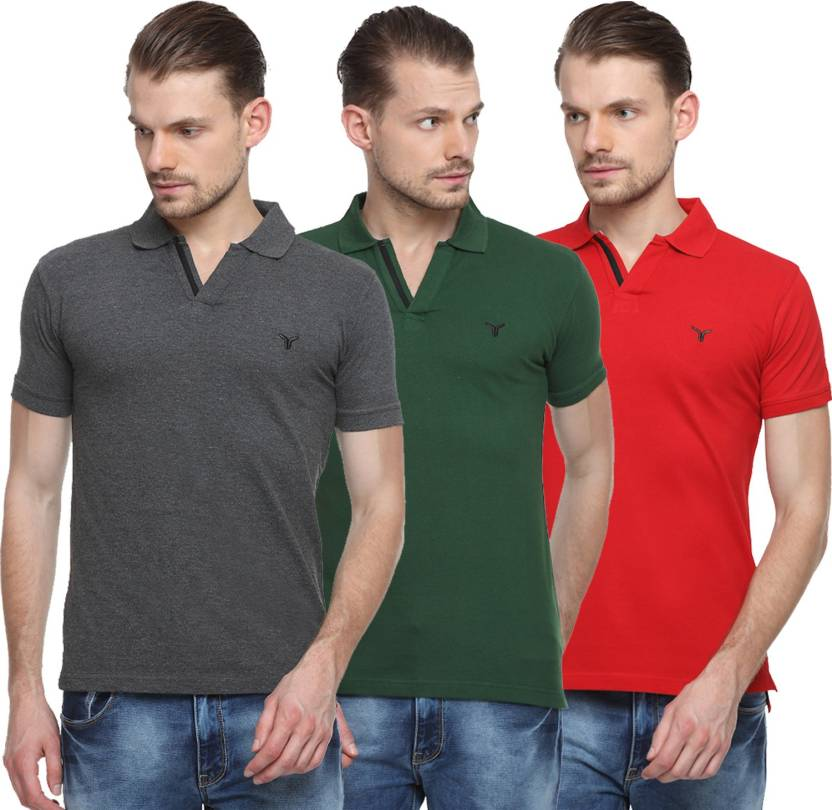 ec7791ae Youthen Solid Men's Polo Neck Grey, Green, Red T-Shirt - Buy Grey ...