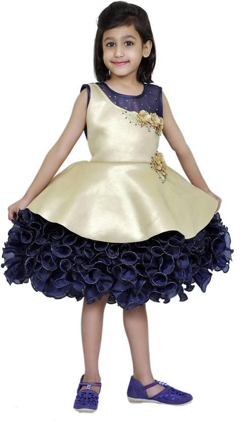 Purple Princess Girls Dress pretty girls knee length frilled frock Girls  Midi Knee Length Party Dress (Blue 4ca59cb5d
