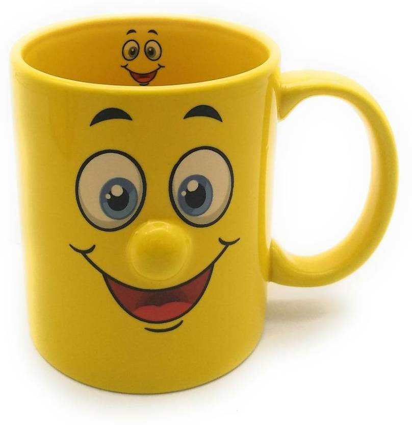 1fb46991a5df Satyam Kraft Ceramic Yellow Smiley Coffee mug(RANDOM DESIGN) for kids birthday  gift return gift gifts coffee mug ceramic mug(1 PIECE) Ceramic Mug (350 ml)