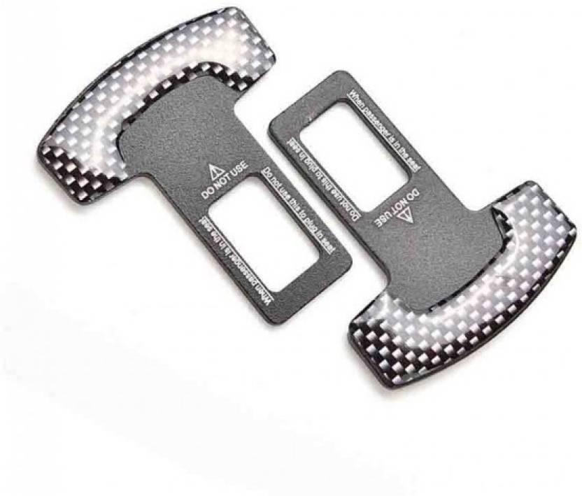 AutoTrends 2 Pcs Carbon Fiber Car Seat Belt Alarm Beep LED Stopper Safety Buckle Null Insert