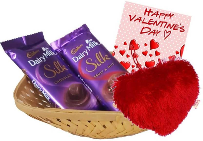 Maalpani Cadbury Silk Chocolates With Heart Shape Toy And Basket