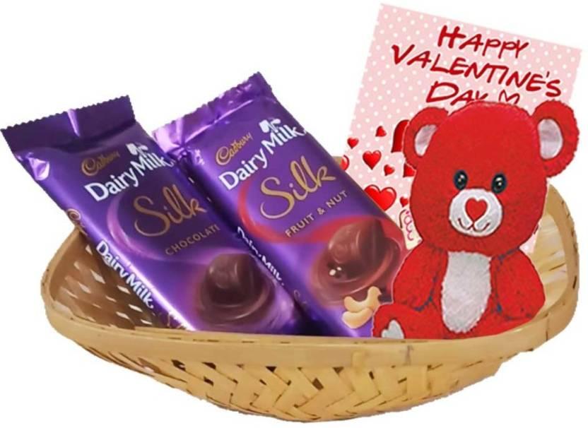 Maalpani Cadbury Silk Chocolates With Teddy Bear Basket Chocolate