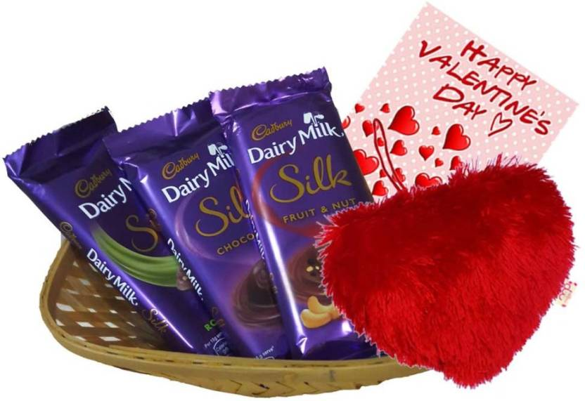 Maalpani Valentine day Gift pack - Silk Chocolate Set with Basket and Greetings Greeting Card Gift
