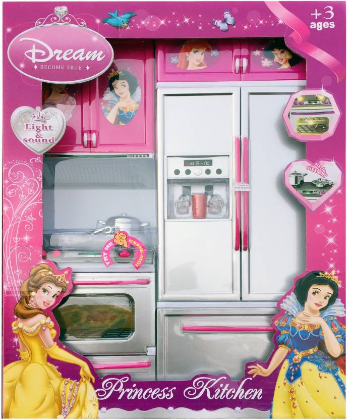 Techhark Princess Dollhouse Kitchen Set Light Sound Toys For Girls