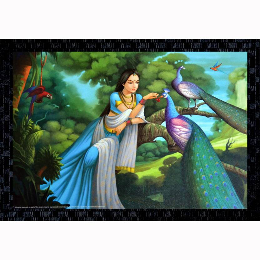 Janki Beautiful Lady Sitting On Tree With Peacock Modern Art Wall Painting Canvas 14 Inch X 20 Inch Painting