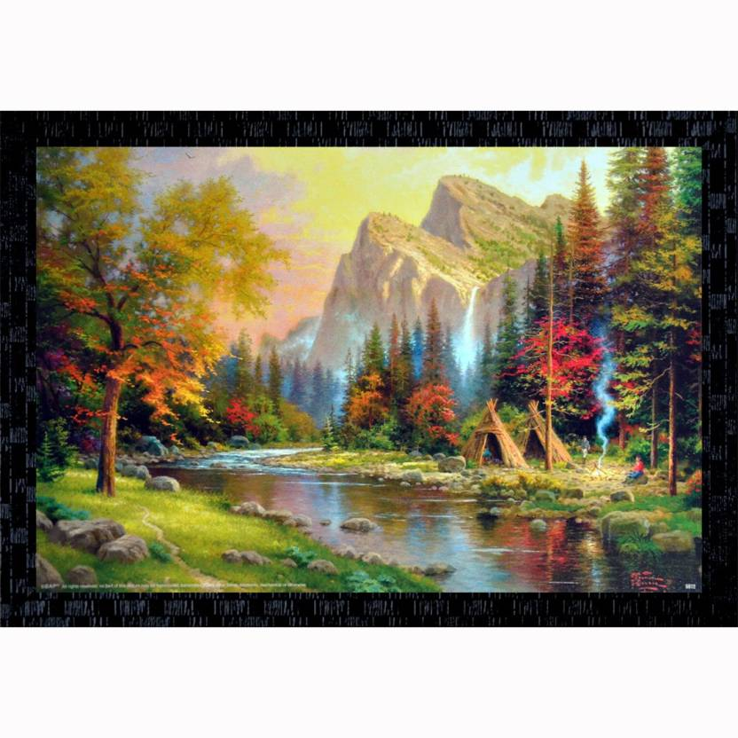 Janki Beautiful Long Tree River Sky Nature Scene Decorative Wall Painting Canvas 14 Inch X 20 Inch Painting
