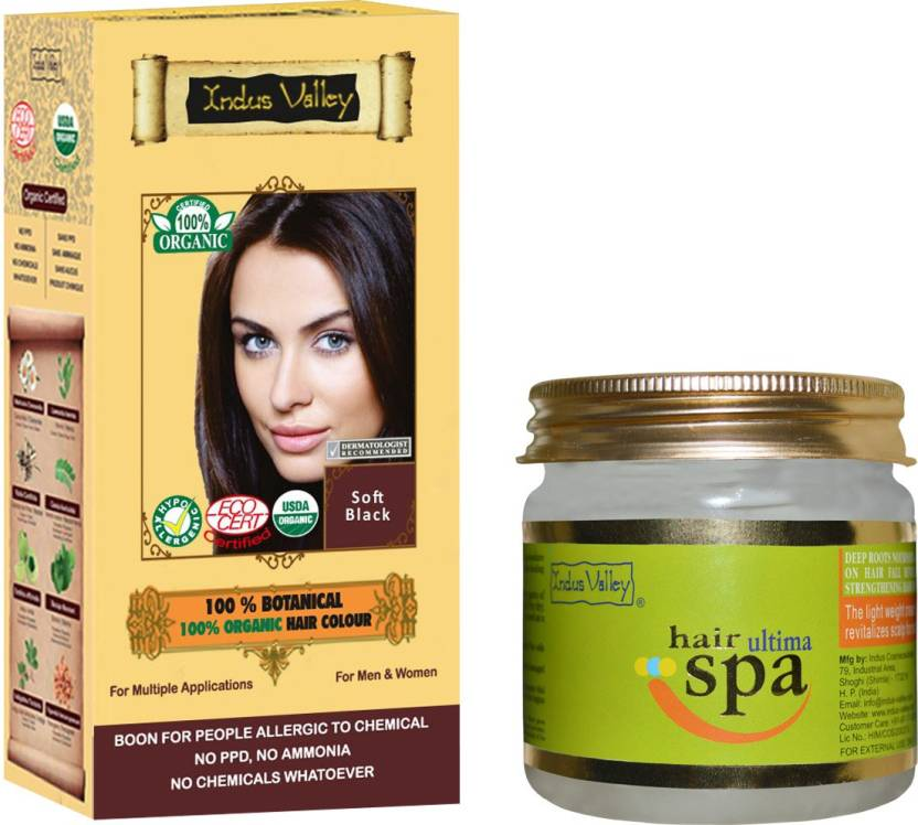 Indus Valley 100 Organic Botanical Soft Black Ppd Free Hair Color
