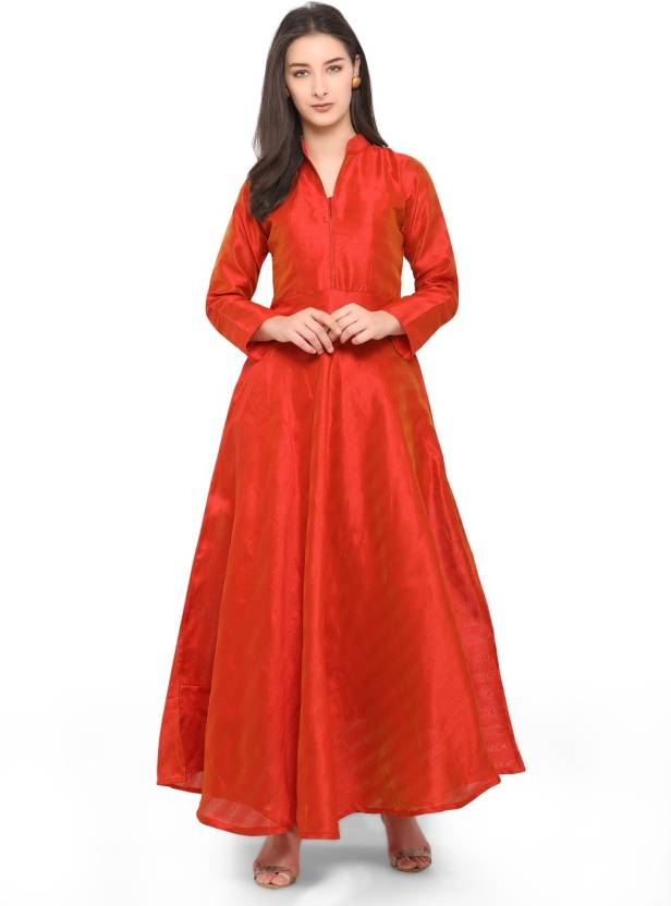 5716da23d65 sarvagny clothing Women Maxi Red Dress - Buy Rust sarvagny clothing Women  Maxi Red Dress Online at Best Prices in India