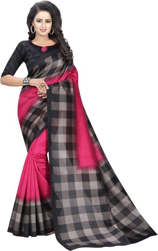 92ec36a33 V J Fashion Printed, Checkered Daily Wear Art Silk Saree (Multicolor)