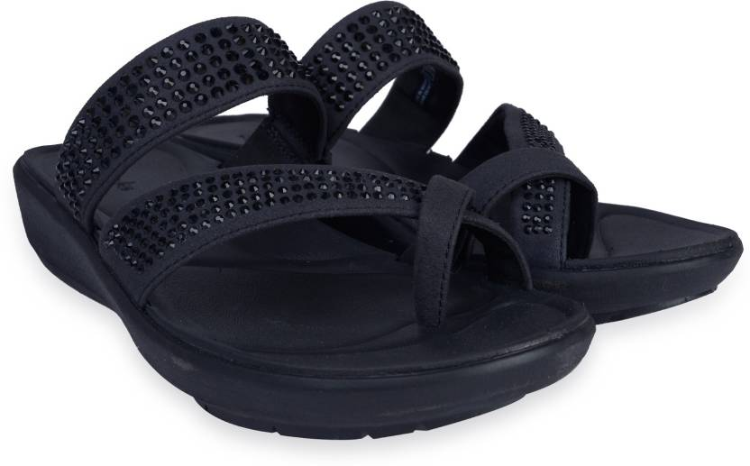 586a1877bc2f Clarks Wave Bright Black Synthetic Slippers - Buy Black Color Clarks Wave  Bright Black Synthetic Slippers Online at Best Price - Shop Online for  Footwears ...