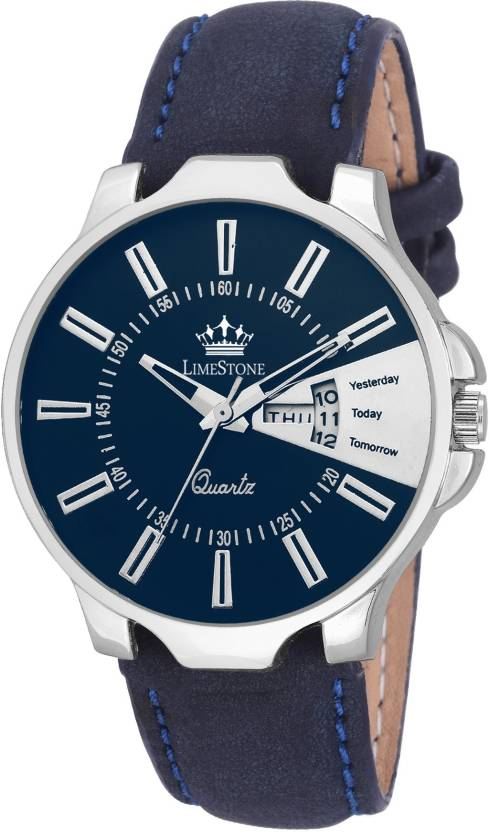 LimeStone LS2710 Analogue Blue Dial Day and Date Watch - For Men