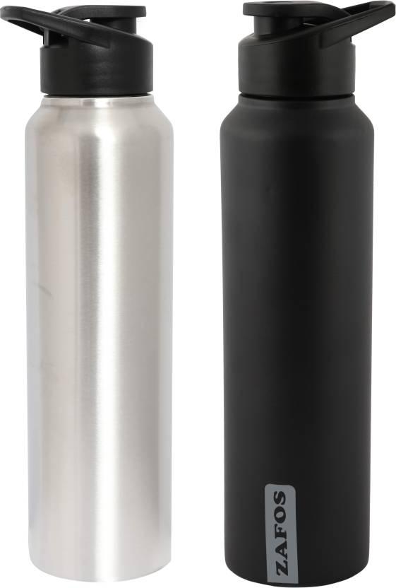 d2cd4b6430 Zafos Chromo Stainless Steel Sipper Water Bottle For Fridge, Gym,  Sports,Office,School-Silver , Blackmatt,1000ml Each,2pc 1000 ml Bottle  (Pack of 2, Black, ...
