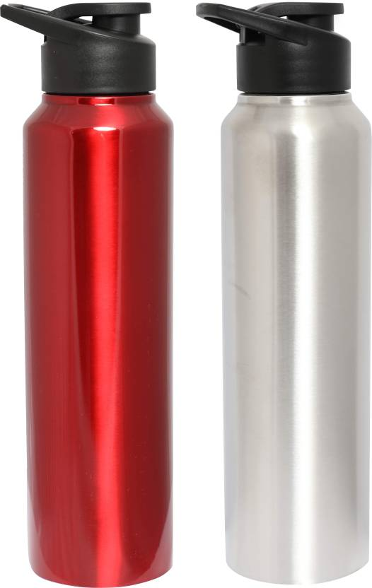 ca2dd1d2a7 Zafos Chromo Stainless Steel Sipper Water Bottle- 1000Ml, Silver and Red  ,2Pc. 1000 ml Bottle (Pack of 2, Red, Silver)