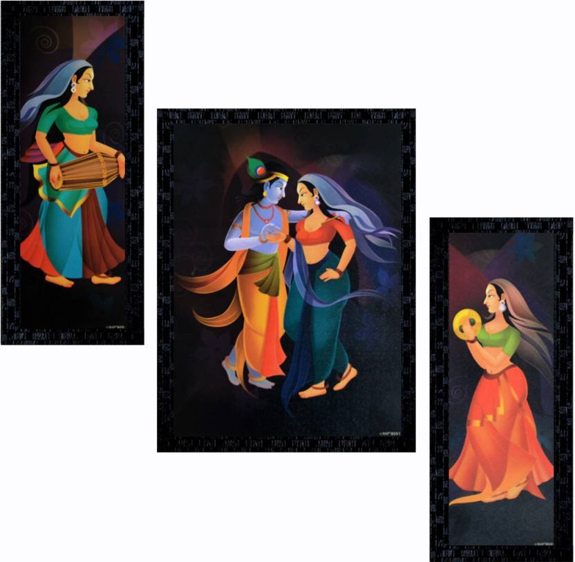 Janki Set Of 3 Beautiful Radha Krishna Dancing Modern Art Decorative Wall Painting Canvas 14 Inch X 11 Inch Painting