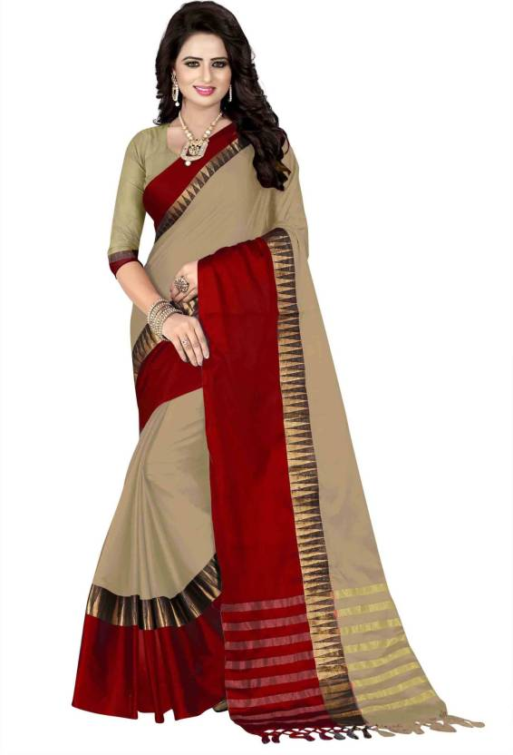 d08afa1014 Bombey Velvat Fab Striped Kanjivaram Cotton Silk, Jacquard, Cotton Linen  Blend, Silk Saree (Red, Brown)