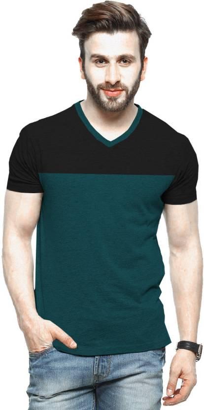 ab5f10b342e4 Tripr Color block Men V-neck Green, Black T-Shirt - Buy Tripr Color block  Men V-neck Green, Black T-Shirt Online at Best Prices in India |  Flipkart.com