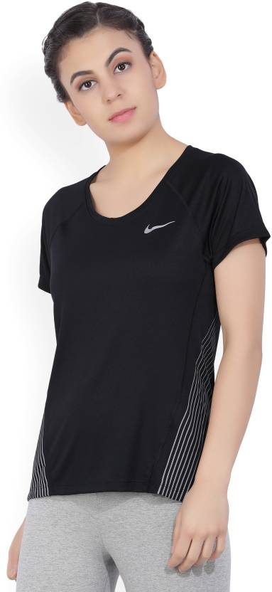 56012746033524 Nike Casual Half Sleeve Solid Women s Black Top - Buy BLACK Nike ...