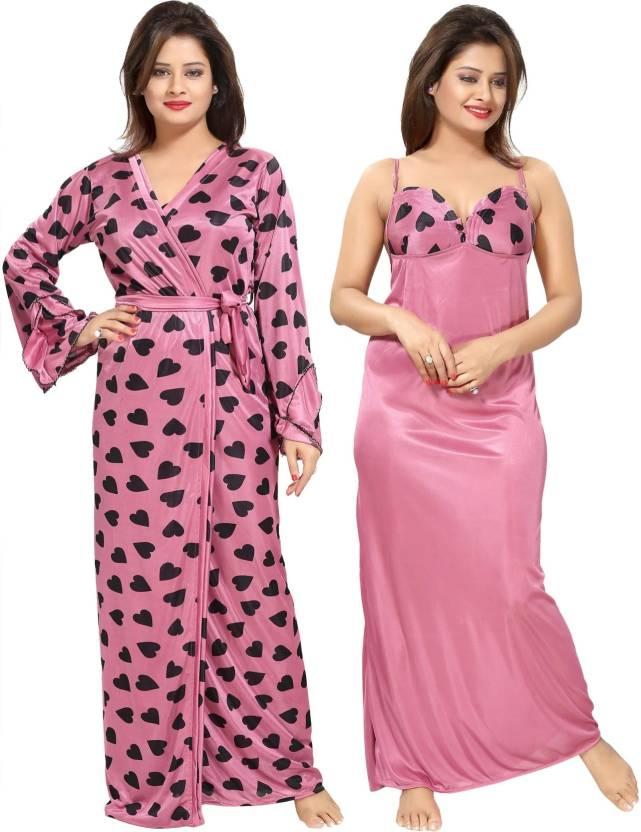 4cb438e047 Be You Women Nighty with Robe - Buy Be You Women Nighty with Robe ...