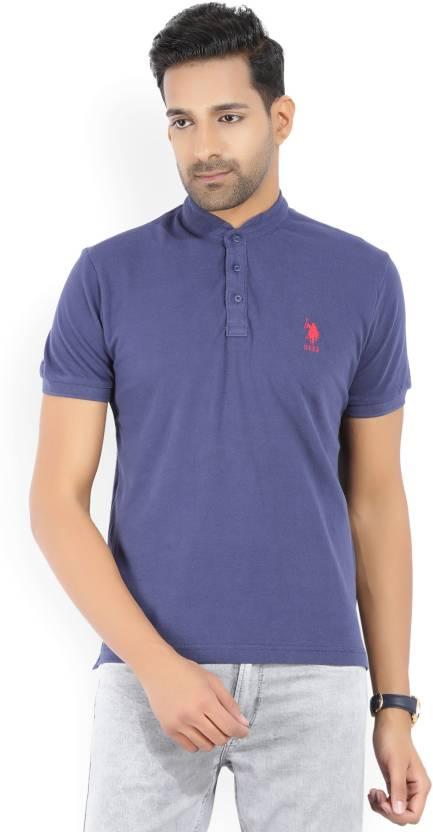 6e85ba1c6 U.S. Polo Assn Solid Men Mandarin Collar Blue T-Shirt - Buy Blue U.S. Polo  Assn Solid Men Mandarin Collar Blue T-Shirt Online at Best Prices in India  ...