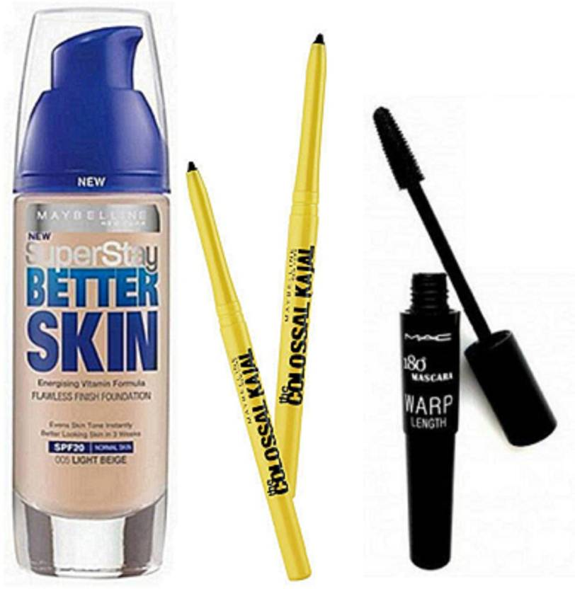 1e437485136 Maybelline Liquid Glowing Skin Foundation With Colossal Kajal Pack Of 2 &  Mac Up Lash Mascara (Set of 3)