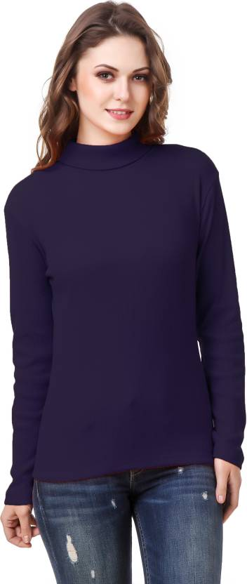 vibhinta Turtle Neck Solid Women Pullover