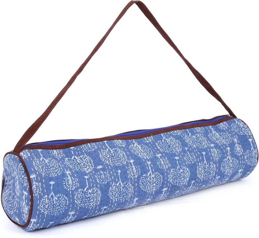 0926375d85f4 JaipurSe Premium Designer Artisan made Kantha stitch Full-Zip Yoga Exercise  Mat Carry Bag with Multi-Functional Storage Pockets Yoga Mat Bag (Blue