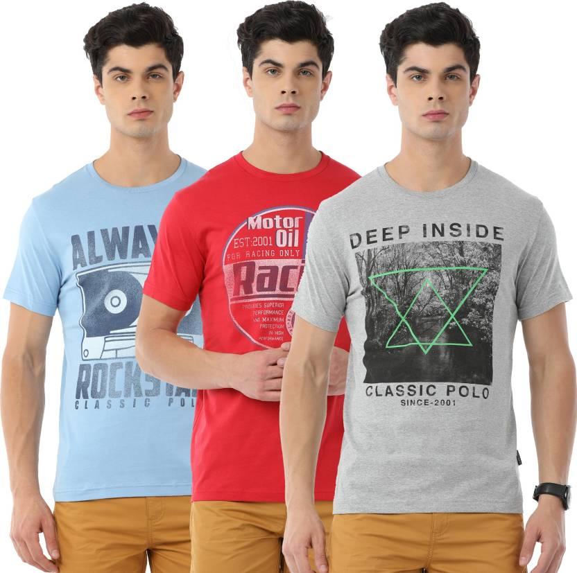0c97d9b8 Classic Polo Printed Men Round Neck Multicolor T-Shirt - Buy Classic ...