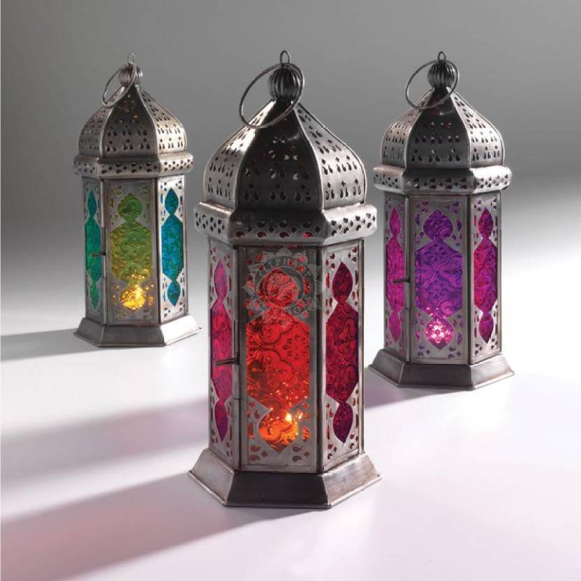 Collectible India Metal Purple Glass Tea Light Candle Holders
