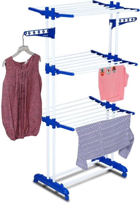 Meded CGS Double Jumbo Heavy Multi Layer Steel Clothes Drying Stand Rack Foldable with wheels Steel