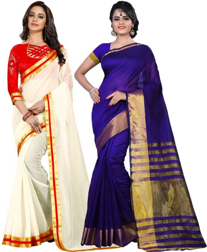 ce4bad270c22b5 Buy Cozee Shopping Solid Bollywood Cotton Silk Multicolor Sarees ...