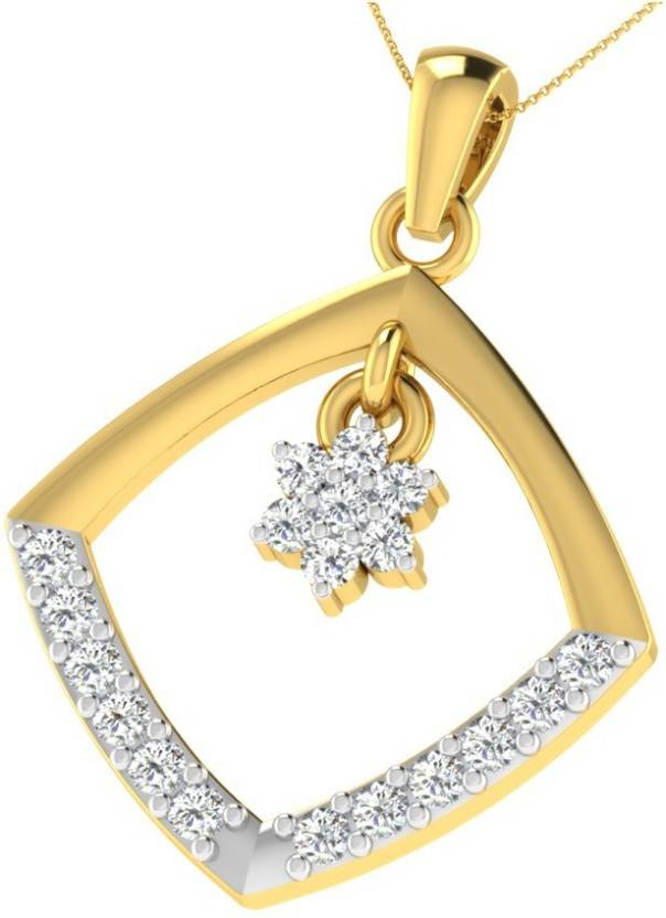 438cea1799 His & Her His & Her 0.1 Cts Diamond Square Shaped Sleek Pendant in 18KT  Yellow Gold 18kt Diamond Yellow Gold Pendant Price in India - Buy His & Her  His ...