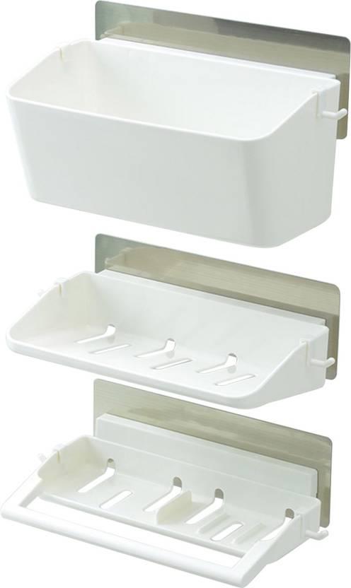Hokipo Magic Sticker Self Adhesive 3 Tier Bathroom Organizer Shower Caddy With Towel Rail