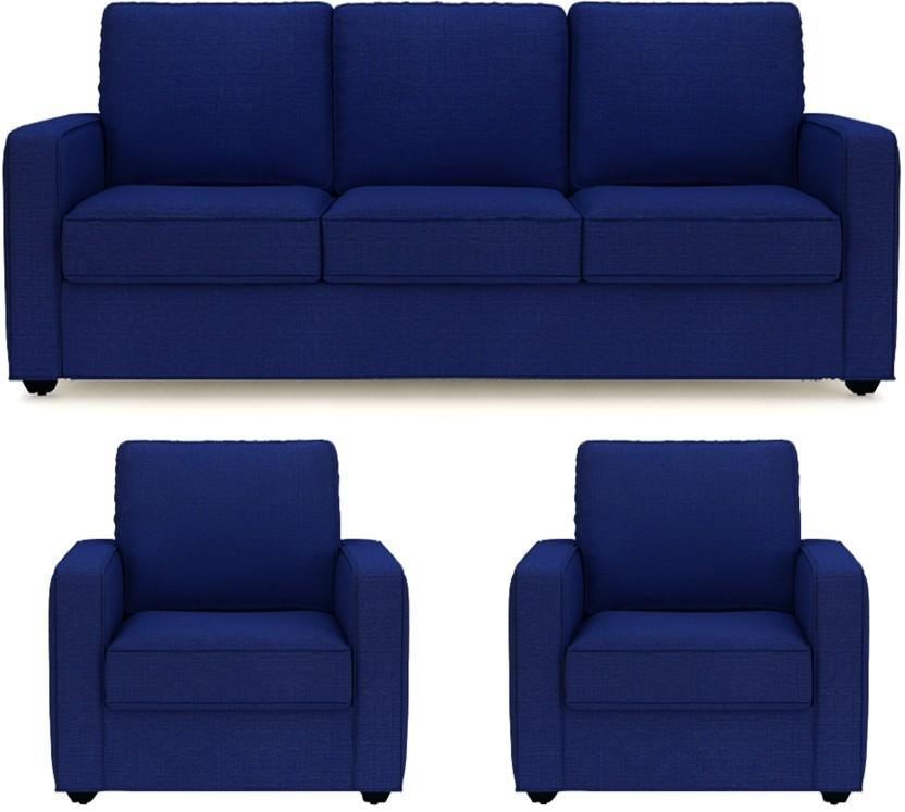 PRIMROSE Eclipse Fabric 3 + 1 + 1 Royal Blue Sofa Set