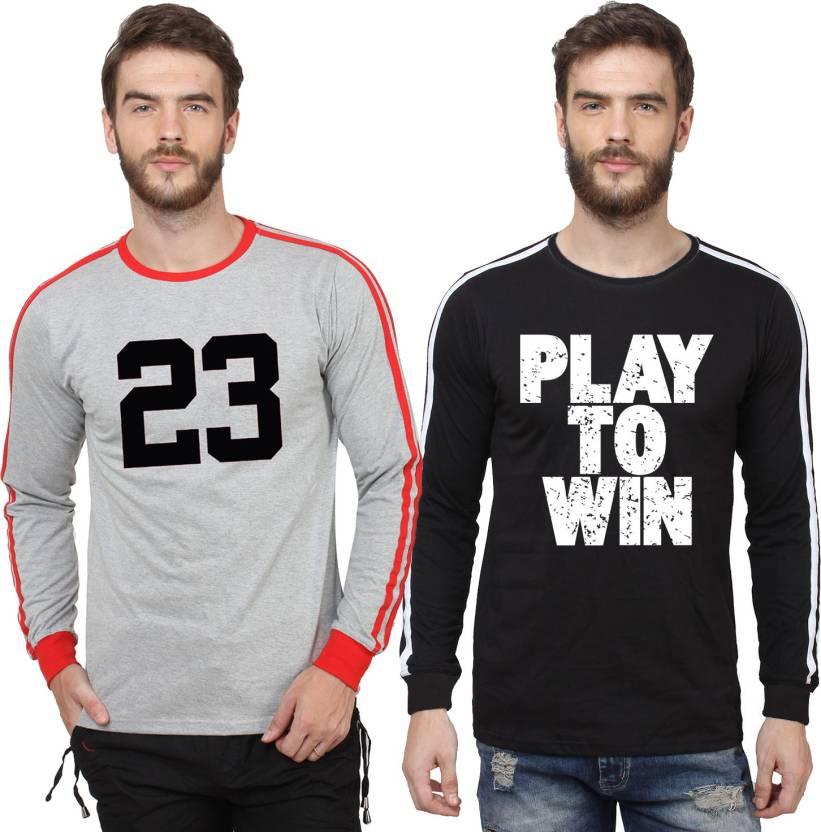 ca886c35251f SayItLoud Printed Men's Round Neck Grey, Red, Black, White T-Shirt (Pack of  2)