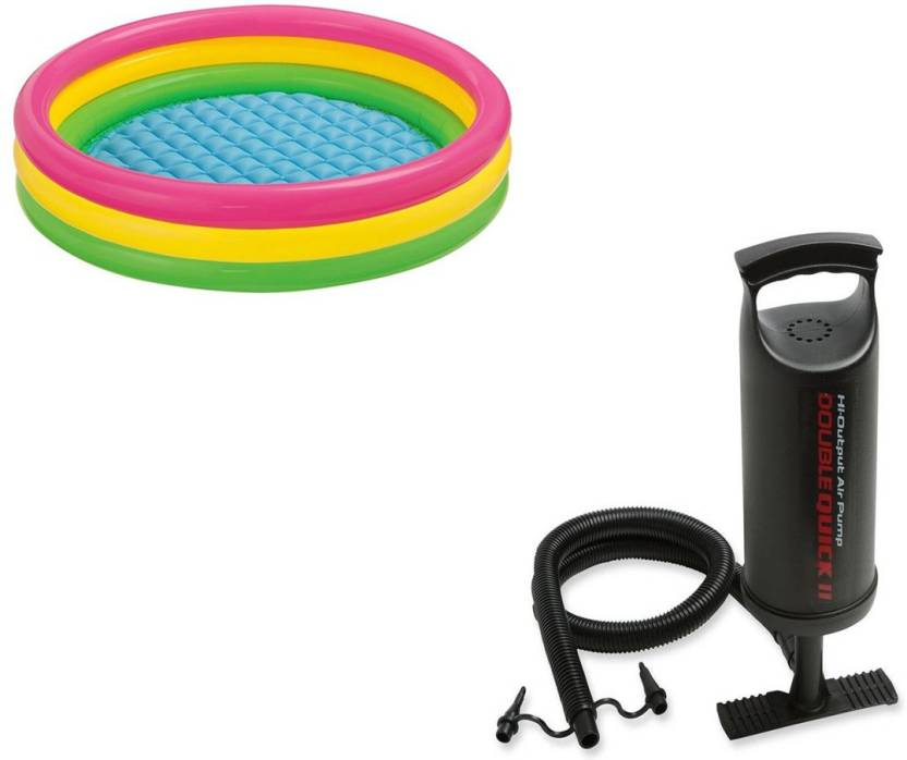 Akshit Inflatable 3 Feet Baby Swimming Pool With Air Pump Inflatable Pool  Accessory (Multicolor) Inflatable Pool Accessory