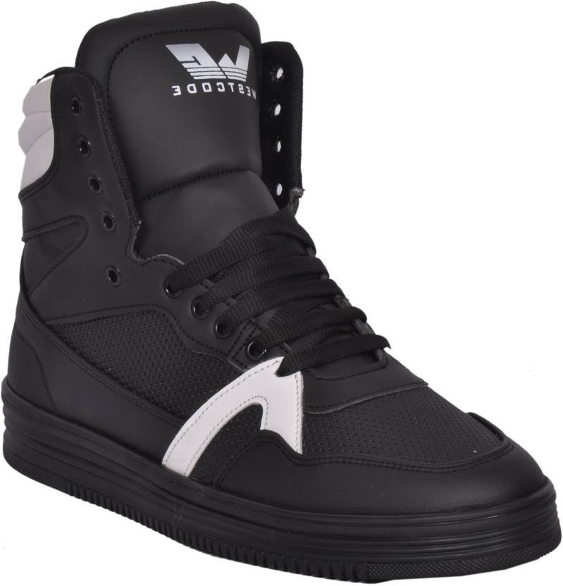 3c602acc406e West Code Westcode Mens Boots Synthetic leather High Top Casual Sneaker  Online Shoes 9017 -White-Black-10 Basketball Shoes For Men (Black)