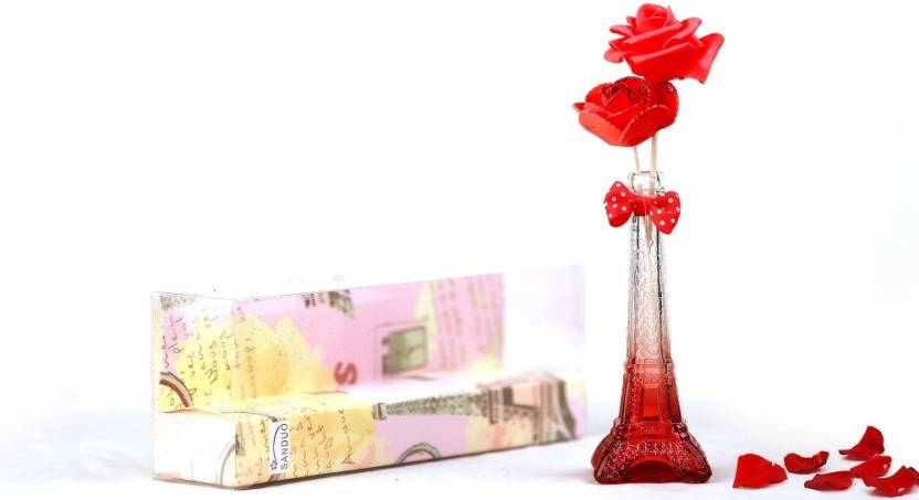 Indoskyasia Red Eiffel Tower Stand Artificial Flower Showpiece Gift