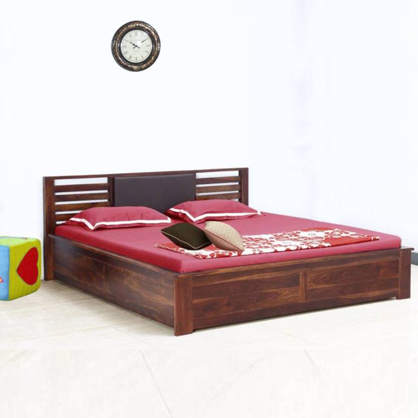 Vintej Home Horizon Box Sheesham Solid Wood Queen Bed Price in India ...