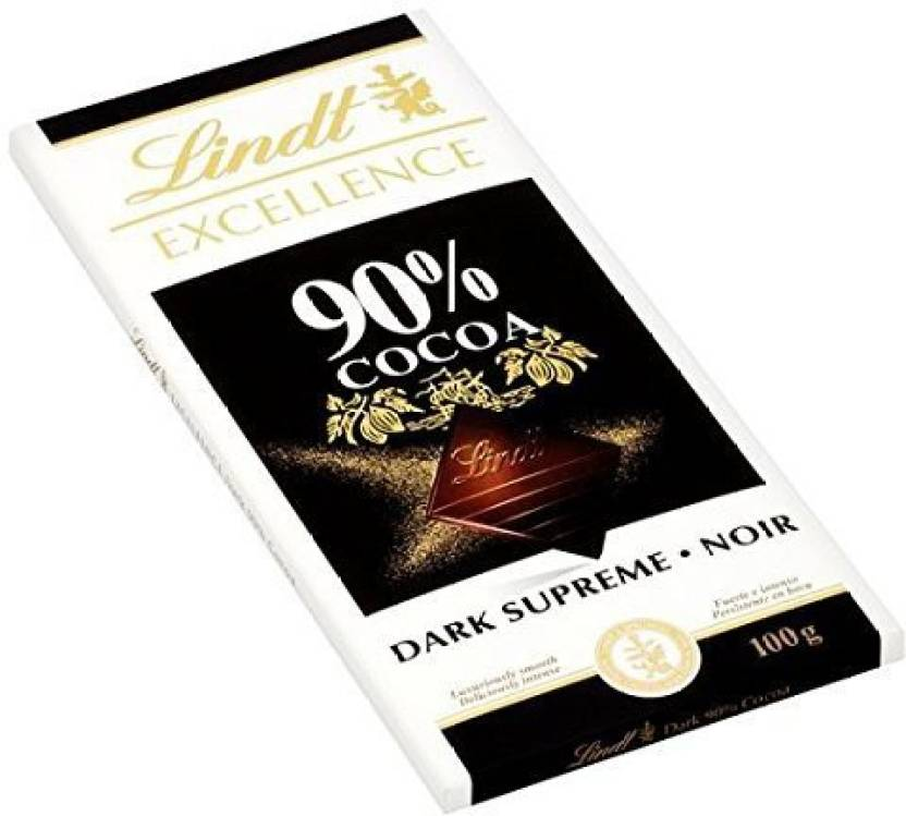 Lindt Excellence 90 Cocoa Dark Supreme Noir Chocolate Bar 100 Grams Bars G