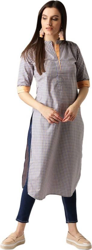 d8983af73 Libas Women s Checkered Pathani Kurta - Buy Blue Libas Women s ...