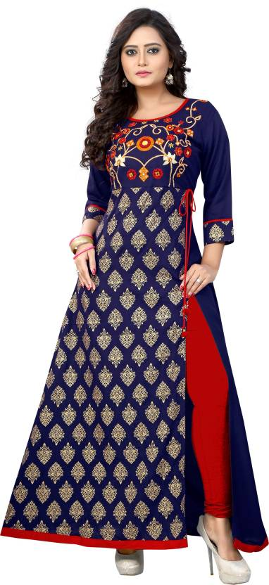 Vbuyz Printed, Embroidered Women's A-line Kurta  (Blue)